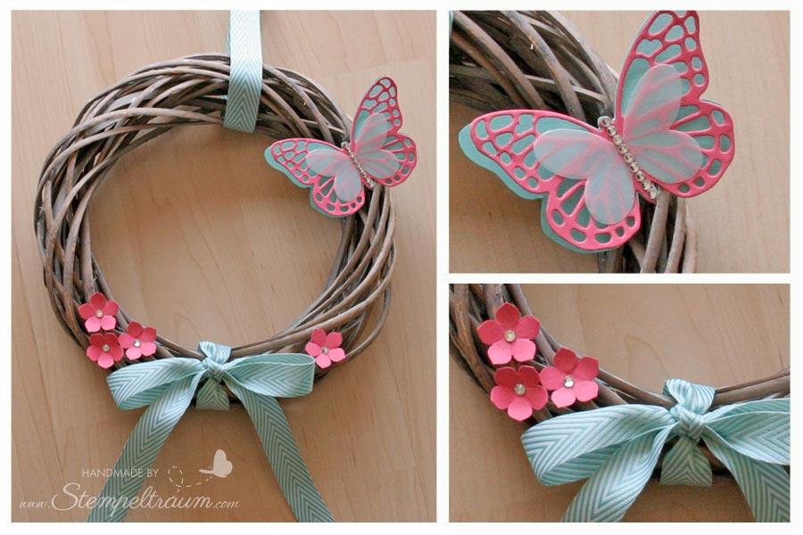 Stampinup Türkranz mit Thinlits Schmetterlingen