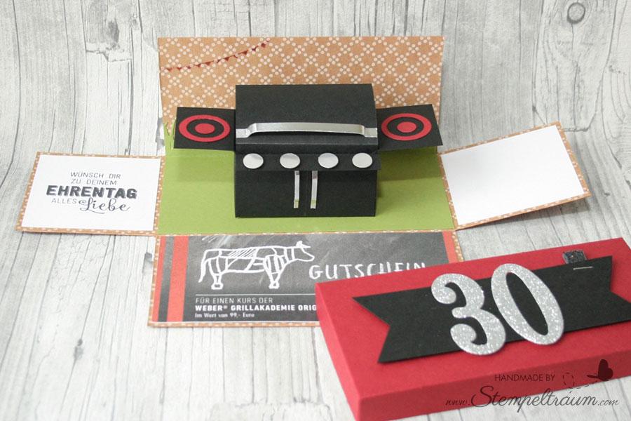 stampin up Explosionsbox für einen Grillkurs