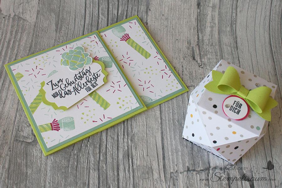 Facettenbox und Gutscheinkarte mit Produkten von Stampin´Up!