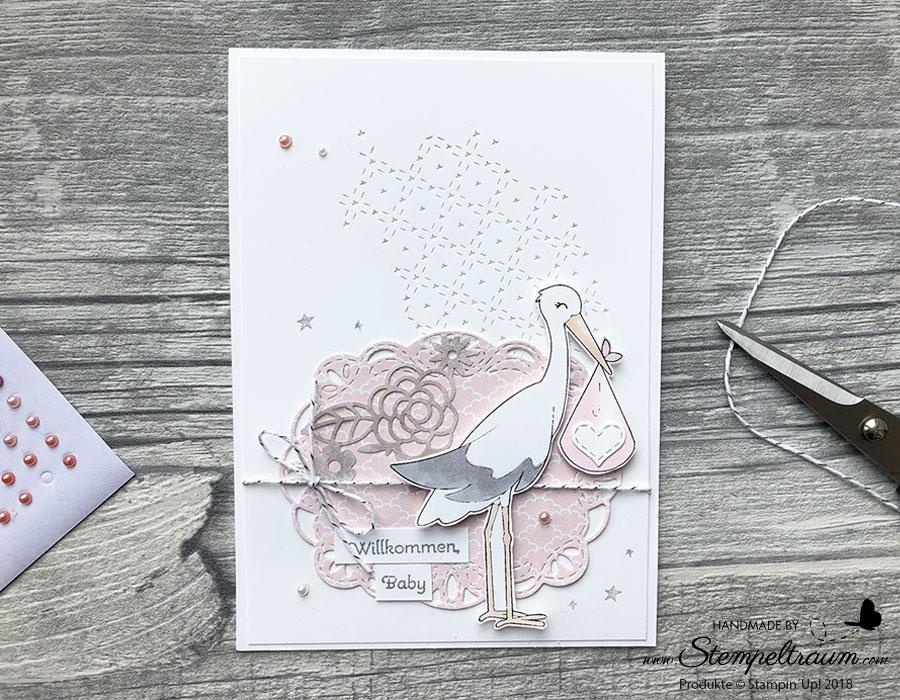 Babykarte zur Geburt mit Stampin´Up! Produkten