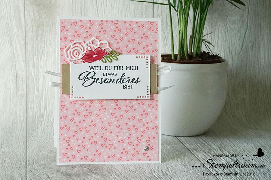 """Stampin´Up! Geburtstagskarte mit dem Set """"Definition von Glück"""" und """"Edgelits Formen Bildschöne Blüten"""""""