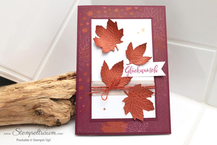 Herbstkarte mit Produkten von Stampin ´Up!. Herbstfreuden, Stammformen Herbstlaub.