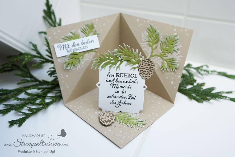 Triangel Corner Pop-Up Card dekoriert mit dem Stempelset Friedvolle Zweige von Stampin´Up!
