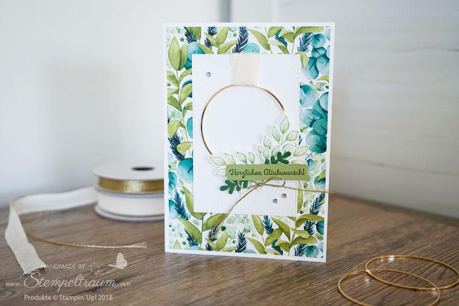 Geburtstagskarte mit dem Designerpapier Ewiges Grün sowie einem goldreif