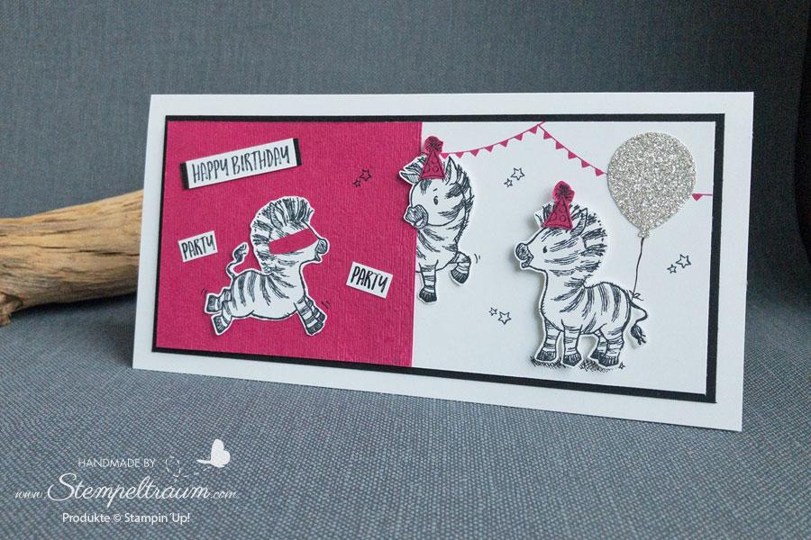 Geburtstagskarte mit dem Stempelset Zany Zebras von Stampin´Up!