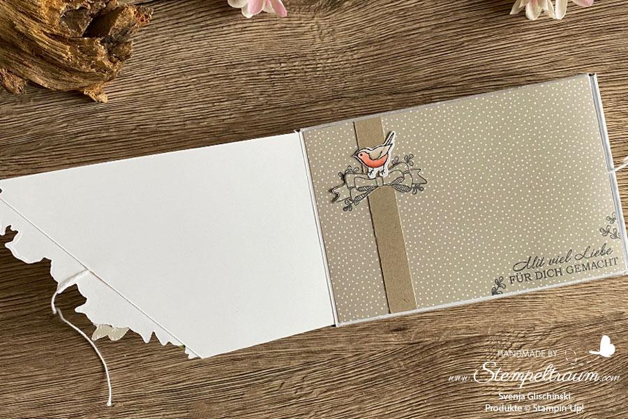 Paper Pumpkin-Minischachtel verziert mit dem Stampin´Up! Vielfaltspaket Schön Schwungvoll.