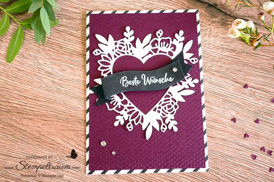 Geburtstagskarte mit den Stanzformen Herzensblüten von Stampin´UP!