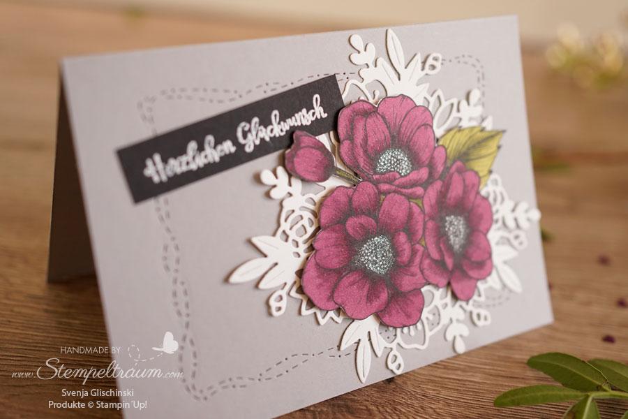 Geburtstagskarte mit dem Designerpapier Wahre Liebe von Stampin´Up!