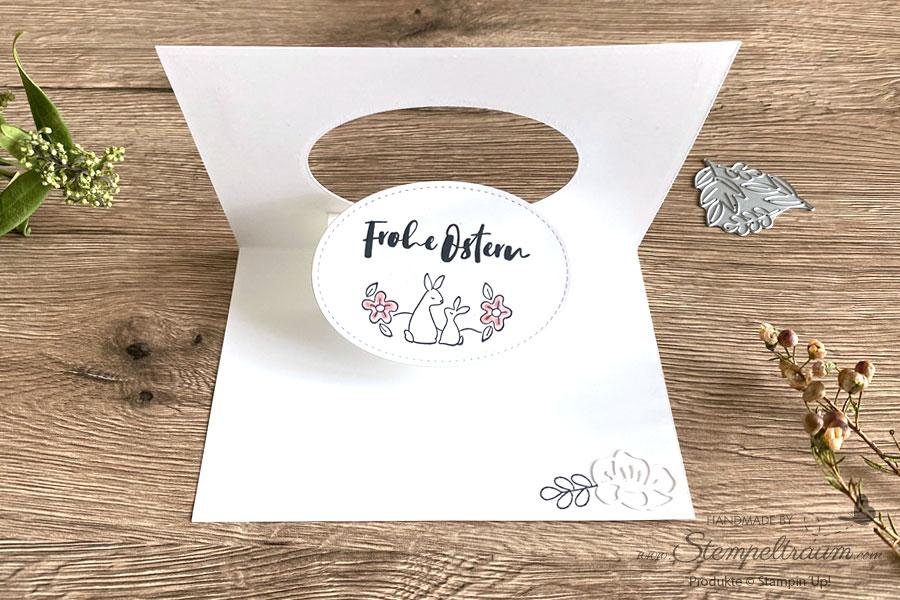 Pop & Flip Osterkarte in Rokoko-Rosa mit dem Stempelset Ovale Grüsse von Stampin´Up!